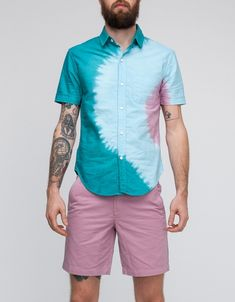 // Over the top, but kinda cool... I'm not man enough to rock that much pink though. Tattoos help. Simple dip-die button down seems like a cool idea though...