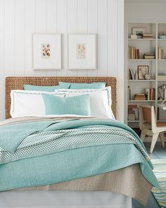 Tongue & groove panelling, wicker headboard, white painted furniture and floor - pale aqua blanket and coverlet