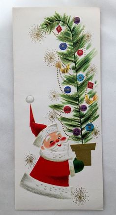 Unused Happy Santa Claus Carrying Decorated Tree Vintage Christmas Card