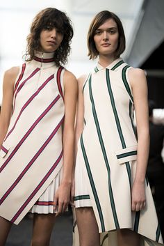 Lacoste backstage // collared, sleeveless striped dresses #style #fashion