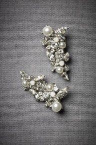 Encrusted Crescent Earrings