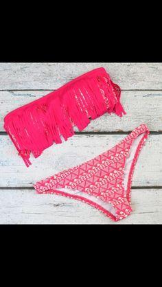 pink fringe bathing suit