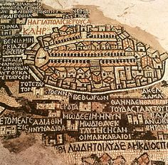 The City of Jerusalem and the surrounding area, detail from the Ma'daba mosaic map, Byzantine, 6th century (mosaic). Byzantine School, (6th century). formed the floor of one of the ancient churches in Ma'daba; map extended from Byblos to Thebes; Church of Saint Gaorge, Ma'daba, Jordan