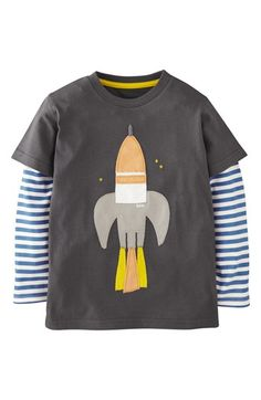 Mini Boden 'Big Vehicle' Appliqué Layered Sleeve T-Shirt (Toddler Boys, Little Boys & Big Boys) | Nordstrom