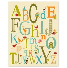 Childrens Wall Art / Nursery Decor Alphabet Poster   ABC Alphabet  Typography Inch Poster Print Via Etsy Part 34