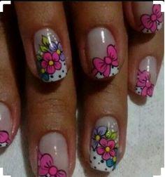 Cute Nail Art Ideas to Try - Nailschick Funky Nail Art, Floral Nail Art, Cute Nail Art, Cute Nails, French Nails, Hair And Nails, My Nails, Luminous Nails, Toe Nail Designs