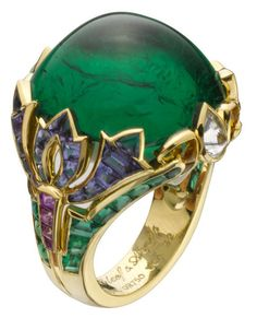 Van Cleef & Arpels Ring - emeralds, yellow sapphires, blue sapphires, mauve sapphires, pear-shaped diamonds and one sugar-loaf emerald Van Cleef Arpels, Van Cleef And Arpels Jewelry, Emerald Jewelry, High Jewelry, Gemstone Jewelry, Jewelry Box, Bullet Jewelry, Geek Jewelry, Gemstone Bracelets