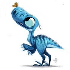 Adorable Blue Baby Dino Observes Orange Butterfly (unknown artist)
