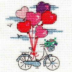 Happiness is .Carefree Days Mini Cross Stitch Kit from DMC, cross stitch card, needlework kit, greeting card Mini Cross Stitch, Cross Stitch Heart, Cross Stitch Cards, Simple Cross Stitch, Cross Stitching, Cross Stitch Embroidery, Embroidery Patterns, Cross Stitch Designs, Cross Stitch Patterns