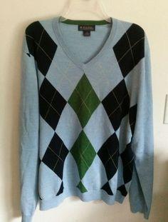 Brooks Brothers Argyle Merino Wool Baby Blue V-Neck Sweater Mens XL #BrooksBrothers #VNeck