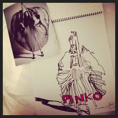 #30days30drawings - Day 6. Inspired by #naomicampbell for #pinko. Naomi looks much prettier in the Pinko ad.   © 2013 Belle Brut