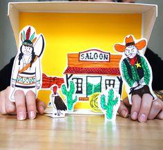 Fabriquez un petit théâtre de western avec un cowboy et un indien. Gabarit à télécharger gratuitement ! Découvrez nos autres ateliers DIY sur notre blog...