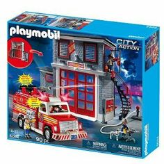 """Playmobil Firehouse Playset - 5044 by Playmobil. $79.99. 90-piece set includes: 3 figures, dog, fire engine, fire station & many other accessories. Requires 2 CR 2032 3V batteries (included). Ages 4 and Up. Assembly Required. 19.7""""H x 23.6""""W x 4.9""""D Ages 4 to 10 years Uses 2 CR 2032 3V batteries (included). Working water pump and flashing lights on the fire engine create a realistic firefighting experience."""