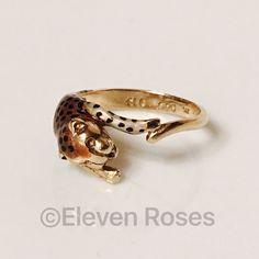 Vintage Sterling 14k Enamel Panther Leopard Ring Vintage Sterling Silver & 14k Gold Enamel Leopard / Cat / Panther Ring -  Hallmarked; SLC, .925, 14k, 1/20 - US Size 7 SLC Jewelry Rings