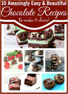 10 amazingly easy and beautiful homemade chocolate recipes. Perfect for sharing and for holiday gifts!