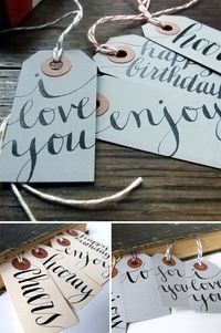 tags for gifts-calligraphy