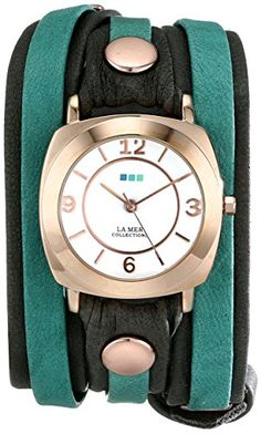 Women's Wrist Watches - La Mer Collections Womens LMDYLY1001 Neon Odyssey Rose Gold Watch with Wraparound TwoTone Leather Band * Read more reviews of the product by visiting the link on the image.