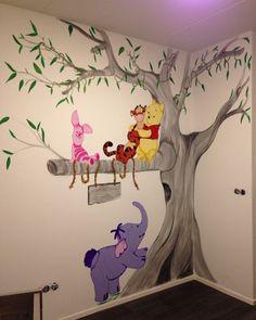 Winnie the pooh muurschildering regio Gelderland
