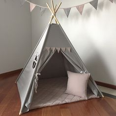 grey teepee tipi tent with pink pennants playtent play ready to ship kids wigwam children birthday gift christmas bday child room Kids Wigwam, Kids Teepee Tent, Diy Tent, Teepees, Estilo India, Dog Furniture, Kids Room, Child Room, Birthday Gifts For Kids