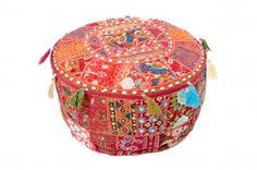 Sitzpouf Brokat Patchwork, indische Handarbeit, rot