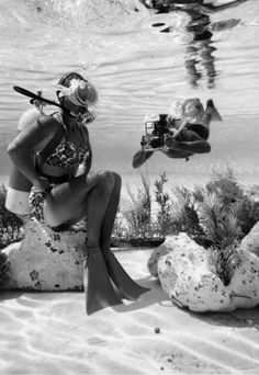 Early scuba diving.