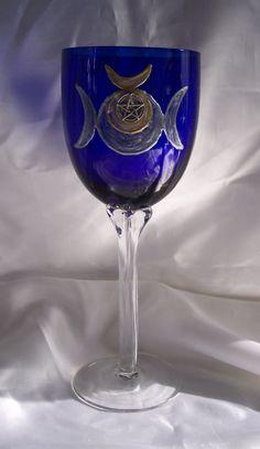 Cobalt Blue Crystal Altar Chalice -Triple Moon Goddess & Horned God, by Eliora