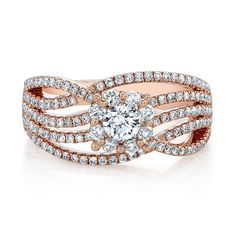 18k Rose Gold White Diamond Multi Split Shank Fashion Band - FM31348-18R
