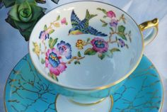 Aynsley Tea Cup and Saucer, Capistrano, Bird Aqua/Turquoise  Floral, Gilt.