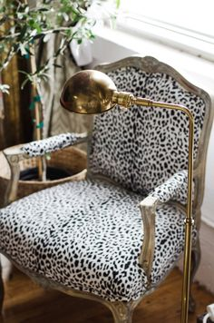 Animal print Queen Anne style chair with Brass Floor Lamp.