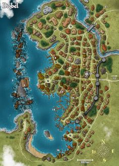 Kind of reminds me of that shipwreck town in Pirates of the Caribbean. I wonder if some kind of battle left all those shipwrecks there, and how the villagers cope now they can't get ships in and out. Fantasy Town, Fantasy City Map, Fantasy Rpg, Fantasy World, Medieval, Fantasy Map Making, Dnd World Map, Pathfinder Maps, Pen & Paper