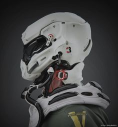 Mech by Vitaly Bulgarov More robots here. Helmet Armor, Suit Of Armor, Body Armor, Futuristic Helmet, Futuristic Armour, Zbrush, Concept Art Landscape, Cyberpunk Girl, Cyberpunk Tattoo