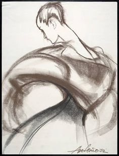 Antonio and Charles James Collaboration  Drawing: Dress with fitted waistline and dolman-like sleeves