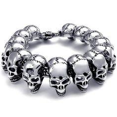 KONOV Bijoux Bracelet Homme - Tête de mort - Crâne Gothique Diable - Motard Biker Tribal Lourd - Acier Inoxydable - Fantaisie - pour Homme -...