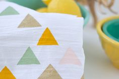 DIY Stenciled Tea Towels - Lovely Indeed