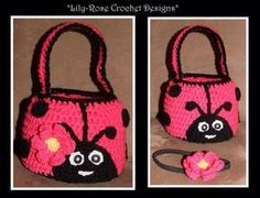 Pink Ladybug Crochet Easter Basket with detachable flower daisy clip can be customized $25