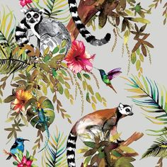 Madagascar Wallpaper Hummingbirds, gekos and lemurs! This tropical metallic wallpaper design is sure to impress. Available in 3 colors Colorway: Metallic Silver ft in ft in ft in Funky Wallpaper, Tier Wallpaper, Navy Wallpaper, Rose Gold Wallpaper, Animal Print Wallpaper, Tropical Wallpaper, Forest Wallpaper, Wallpaper Samples, Bathroom Wallpaper