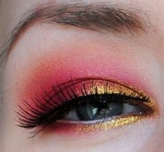 Pink and gold shadow eye makeup