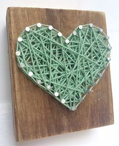 Sweet and small rustic wooden aqua string art heart block A unique gift for a new Baby Boys Weddings Anniversaries Birthdays Valentine's Day Christmas house warming and just because gifts. Homemade Gifts For Men, String Art Heart, Heart Block, Easter Gift Baskets, Art Prints For Sale, Just Because Gifts, New Baby Boys, Gifts For Father, House Warming