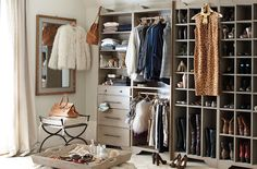 Ballard Designs Sarah Storage collection turns any space into an organized dressing room- i need my closet to look like this but packed with more clothes!