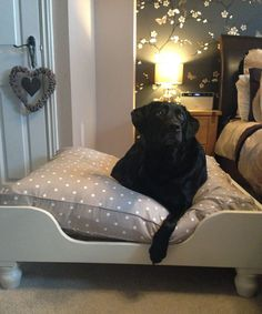 Luxury wooden dog bed painted in Elephants Breath by Farrow and Ball