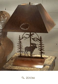 Rustic Moose Bedside Table Lamp - Metal Art