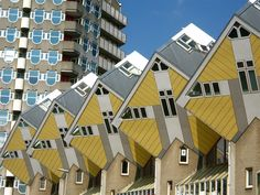 "CUBE HOUSES / PIET BLOM - Kubuswoningen, or cube houses, are a set of innovative houses built in Rotterdam and Helmond in The Netherlands, designed by architect Piet Blom and based on the concept of ""living as an urban roof"": high density housing with sufficient space on the ground level. Blom tilted the cube of a conventional house 45 degrees, and rested it upon a hexagon-shaped pylon. His design represents a village within a city..."