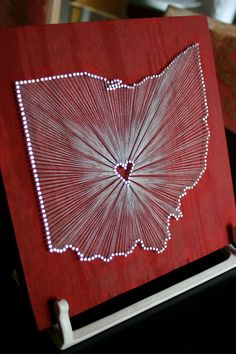 "Little Ohio Love // 9""x9"" Nail and String Tribute to The Buckeye State $65"