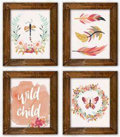 Boho Nursery Art Set. Boho Nursery Prints. by PeanutPrintsBoutique