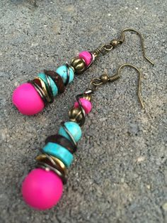Dangle Earrings Boho Earrings Pink and by ClayNmetalConnection