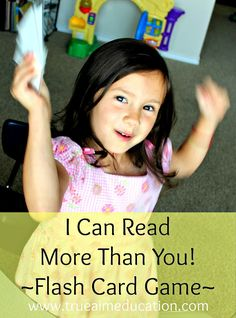 I Can Read More Than You! by True Aim Education is another one of my simple, yet effective flash card games to motivate preschoolers, kindergarteners and young elementary age children to practice reading. Children of all ages love it because it uses the Tease, Tickle, Taunt method for motivation. Playtime with Mommy or Daddy makes learning so fun, your child will love laughing their way to reading proficiency! Kids Learning Activities, Childhood Education, Learn To Read, Kids Cards, Read More, Elementary Schools, Kids Playing, Card Games, I Can