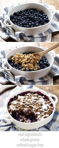 Simple Oat and Blueberry Crisp - warm, juicy blueberries covered with a yummy oat crumble and topped with a coconut drizzle.
