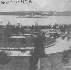 Severn Park (a formal garden) @ the US Naval Academy in Annapolis, MD... The 'Monitor' ship can be seen in the Severn River @ top of pic... circa 1867...