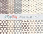 Textured Polka Dot Digital paper pack Instant brown Download commercial use scrapbook background - Set 3