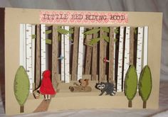 Little Red Riding Hood 6.5″ x 5″ Tunnel book; mixed media.